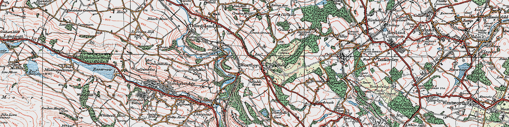 Old map of Wortley in 1924