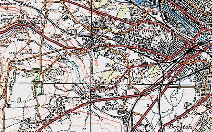 Old map of Wortley in 1925