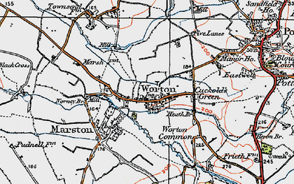 Old map of Worton in 1919