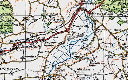 Old map of Wortwell in 1921