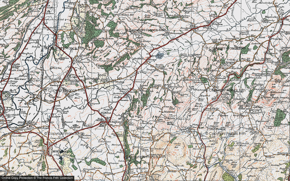 Old Map of Historic Map covering Woodmoor in 1921