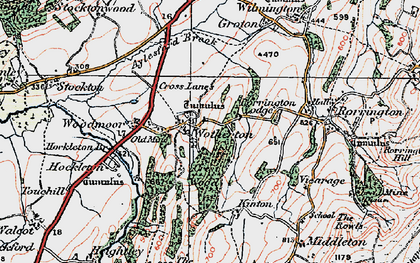 Old map of Woodmoor in 1921