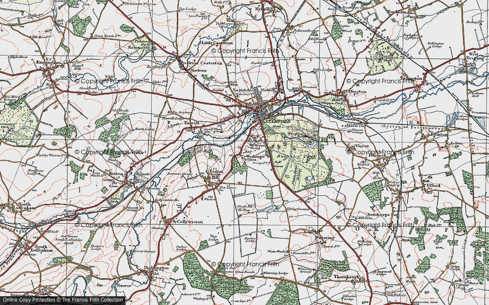 Old Map of Historic Map covering Wothorpe Ho in 1922