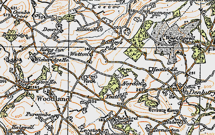 Old map of Wotton Cross in 1919