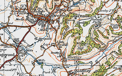 Old map of Wortley Hill in 1919