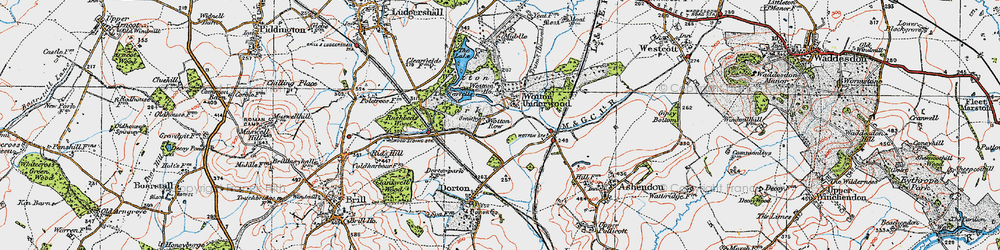 Old map of Wotton Underwood in 1919