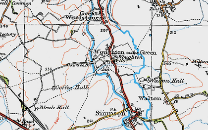 Old map of Woughton on the Green in 1919