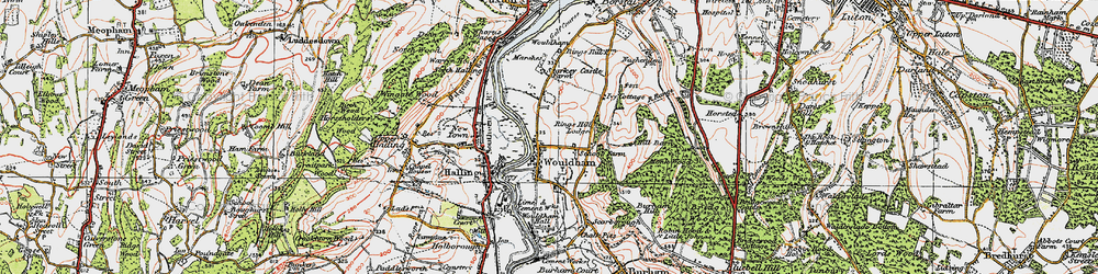 Old map of Wouldham in 1921