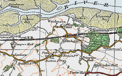 Old map of Wrabness in 1921