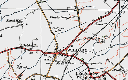 Old map of Wragby in 1923