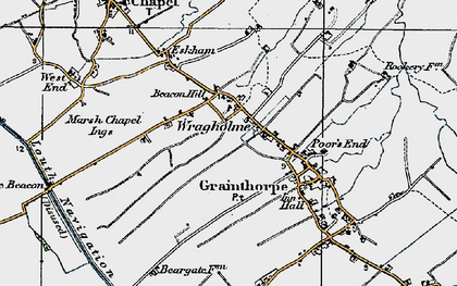 Old map of Wragholme in 1923