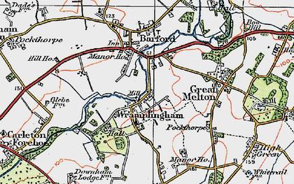 Old map of Wramplingham in 1922