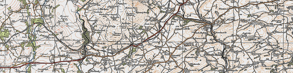 Old map of Wrangaton in 1919