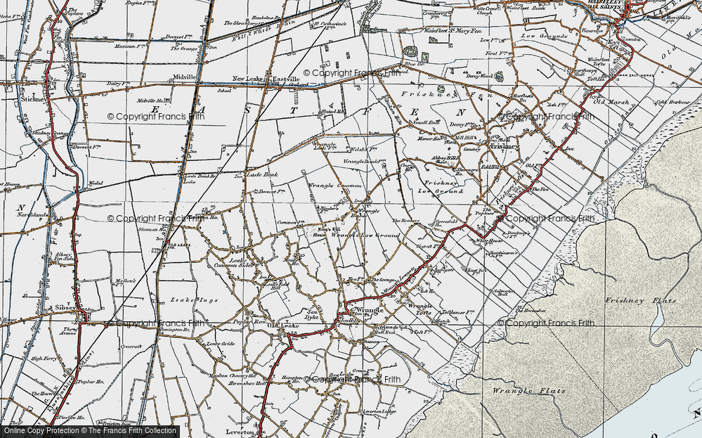 Old Map of Historic Map covering Wrangle Common in 1922