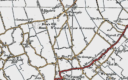 Old map of Wrangle Low Ground in 1922