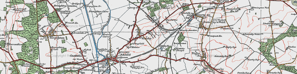 Old map of Wrawby in 1923