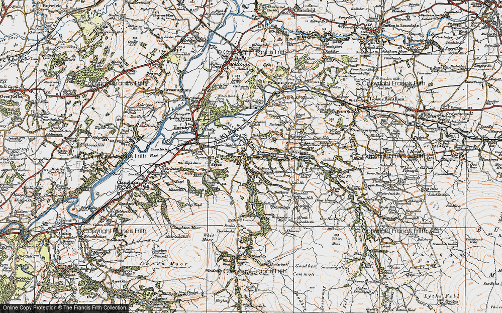 Old Map of Historic Map covering Above Beck in 1924