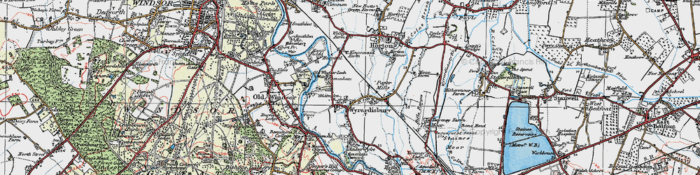 Old map of Wraysbury in 1920