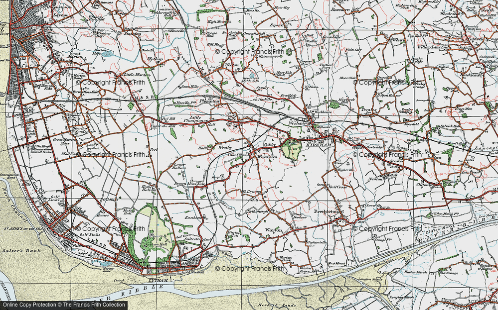 Old Map of Wrea Green, 1924 in 1924