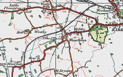 Old map of Wrea Green in 1924