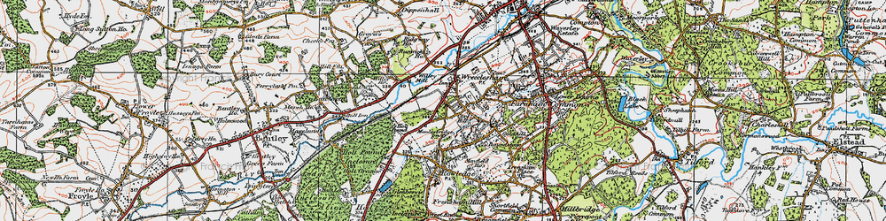Old map of Wrecclesham in 1919