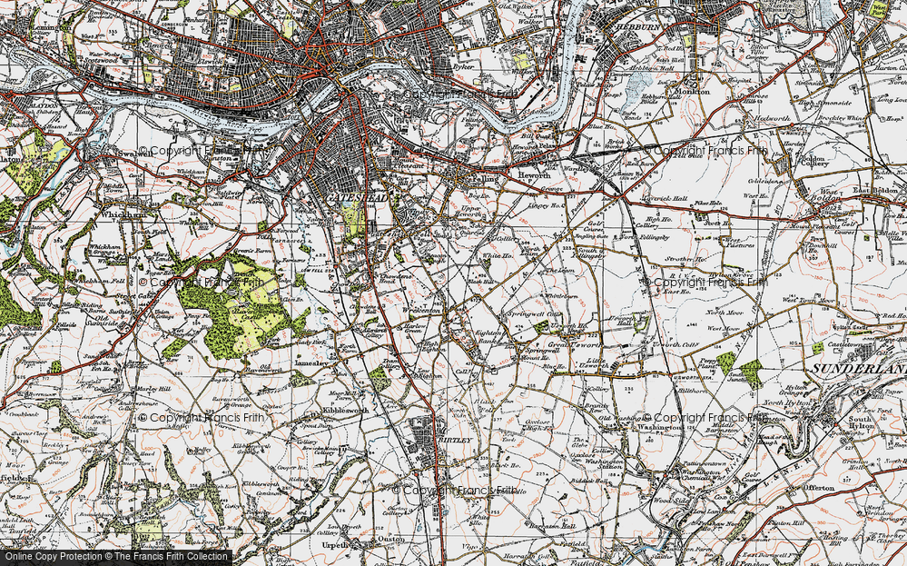 Old Map of Wrekenton, 1925 in 1925