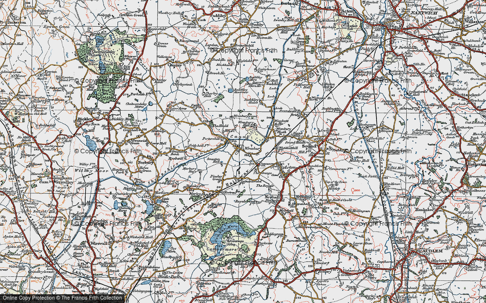 Old Map of Wrenbury, 1921 in 1921