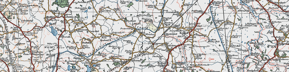 Old map of Wrenbury in 1921