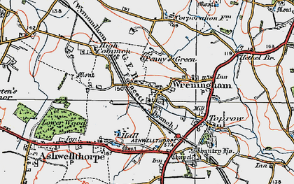 Old map of Wreningham in 1922