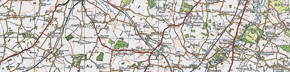 Old map of Wreningham in 1922