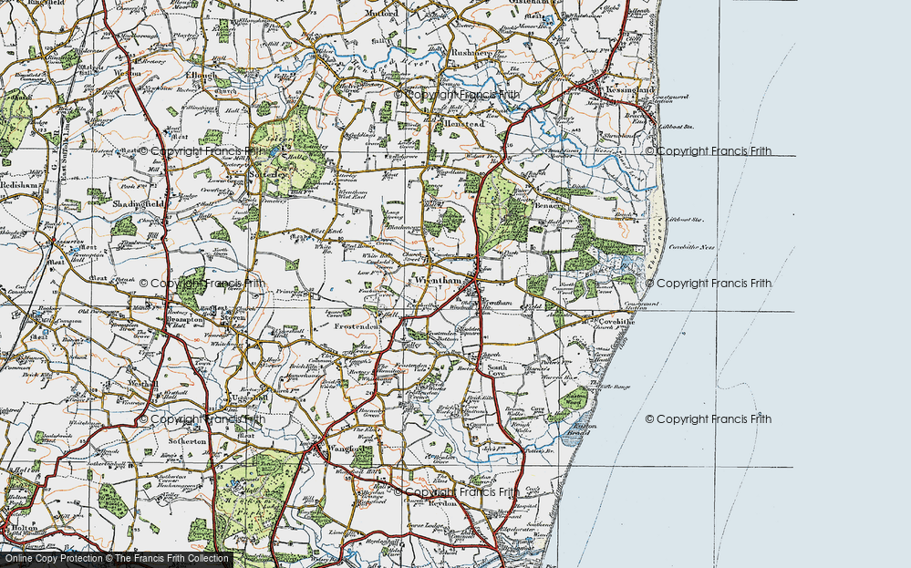 Old Map of Wrentham, 1921 in 1921