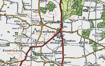 Old map of Wrentham Great Wood in 1921