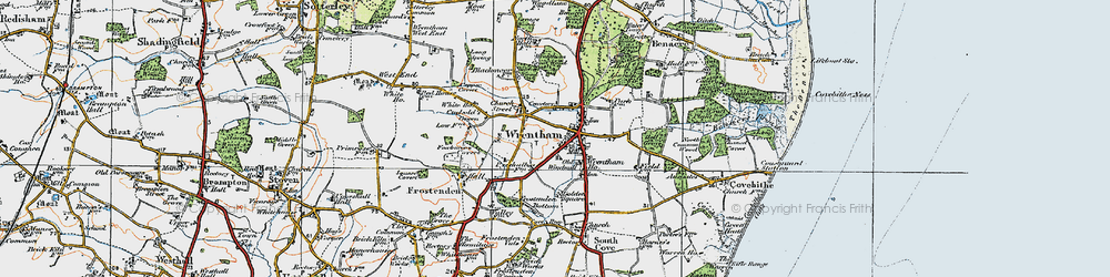 Old map of Wrentham in 1921