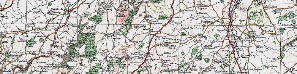 Old map of Wrentnall in 1921