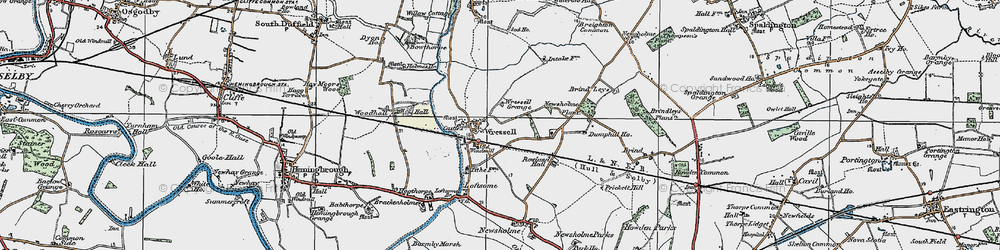 Old map of Wressle in 1924