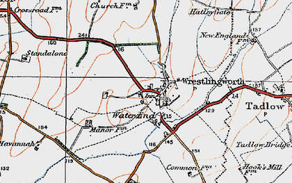 Old map of Wrestlingworth in 1919