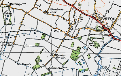 Old map of Wretton in 1922