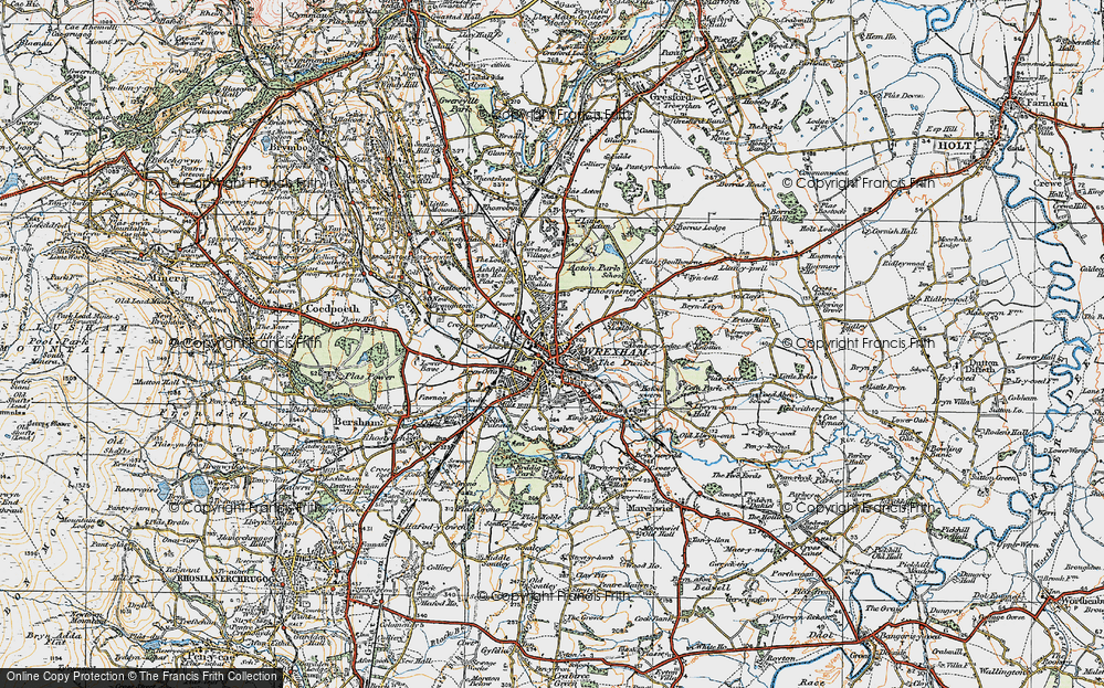 Old Map of Wrexham, 1921 in 1921