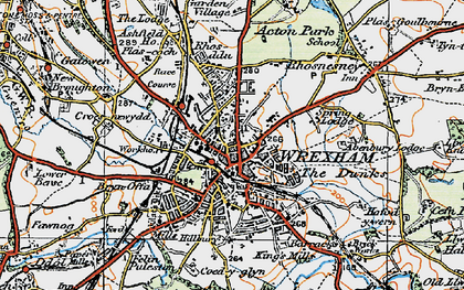 Old map of Wrexham in 1921