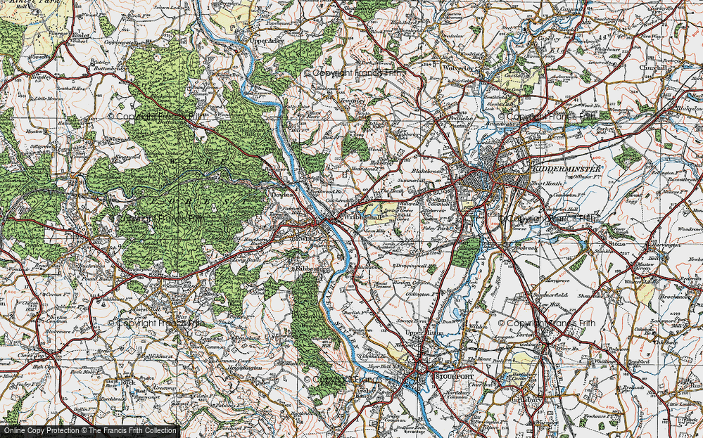Old Map of Wribbenhall, 1921 in 1921