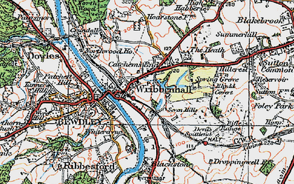 Old map of Wribbenhall in 1921