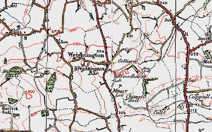 Old map of Wrightington Bar in 1924