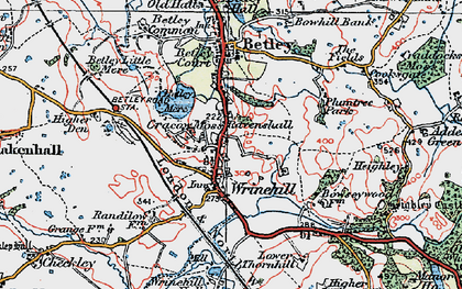Old map of Wrinehill in 1921