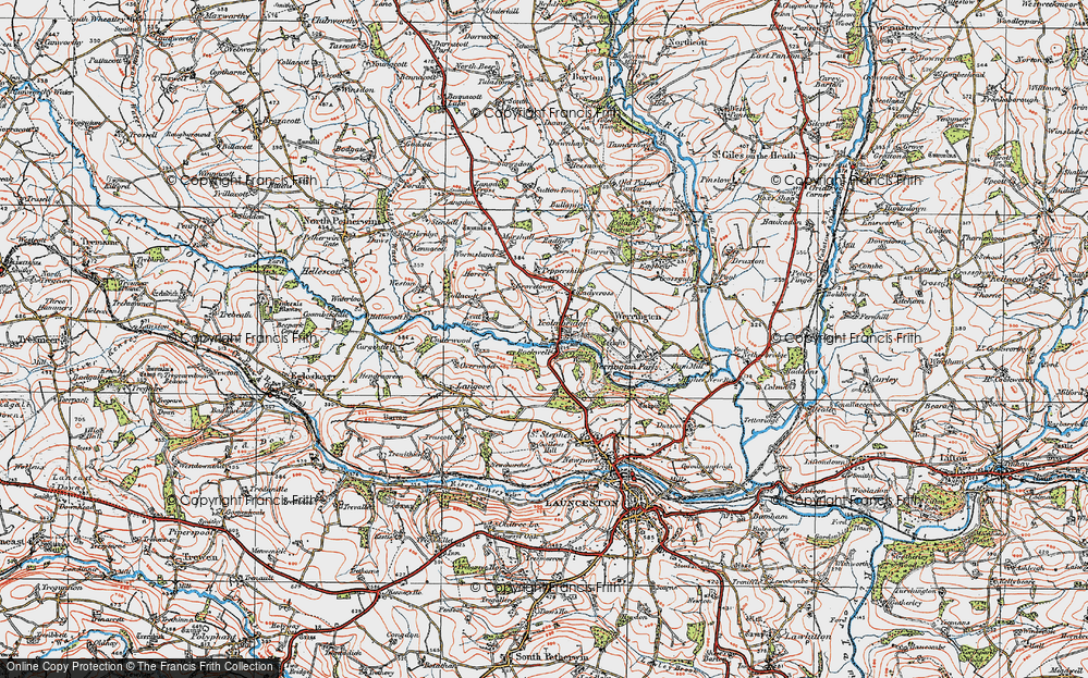 Old Map of Historic Map covering Leat in 1919