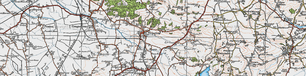 Old map of Wrington in 1919