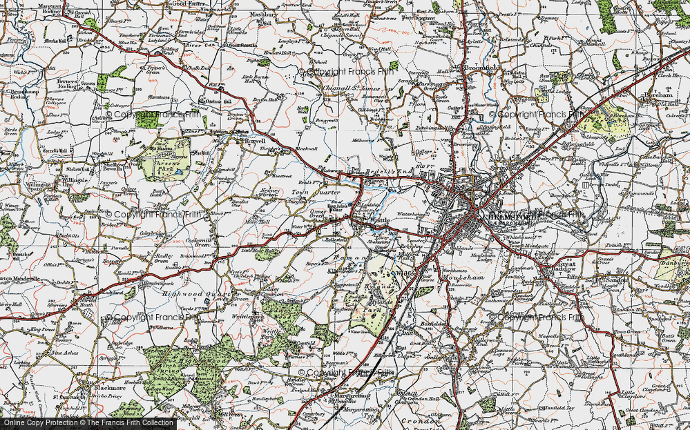 Old Map of Writtle, 1919 in 1919