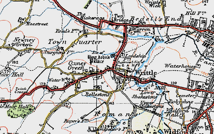 Old map of Writtle in 1919
