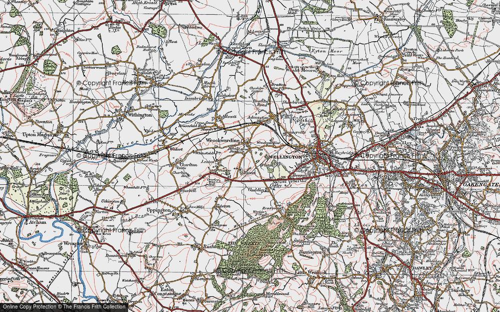 Old Map of Wrockwardine, 1921 in 1921