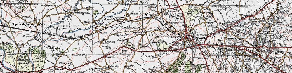 Old map of Wrockwardine in 1921