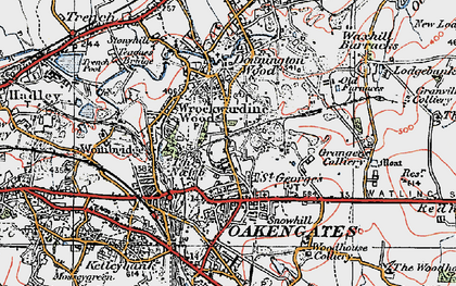 Old map of Wrockwardine Wood in 1921